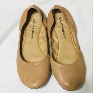 Lucky brand Emmie leather flats nude tan 7.5 M